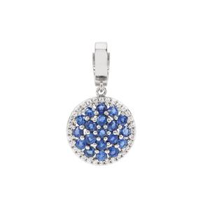 Nilamani Pendant with White Zircon in Platinum Plated Sterling Silver 3.88cts