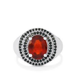 Hessonite Garnet Ring with Black Spinel in Platinum Plated Sterling Silver 3.37cts