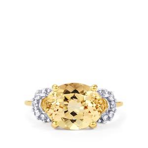 Champagne Danburite & White Zircon 9K Gold Ring ATGW 3.66cts
