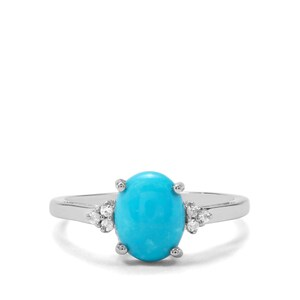 Sleeping Beauty Turquoise & White Zircon Sterling Silver Ring ATGW 1.65cts