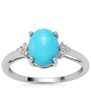 Sleeping Beauty Turquoise Ring with White Zircon in Sterling Silver 1.65cts