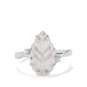 Crystal Quartz & White Zircon Sterling Silver Ring ATGW 3.78cts