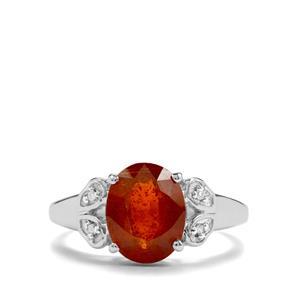 Loliondo Orange Kyanite & Diamond Sterling Silver Ring ATGW 3.12cts