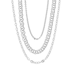 """18"""" Sterling Silver Set of 3 Chain 4.81g"""