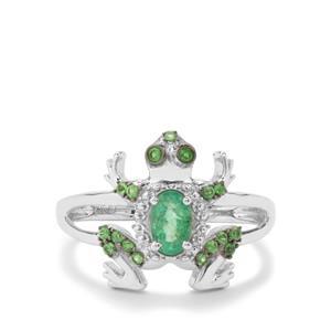 Zambian Emerald & Tsavorite Garnet Sterling Silver Ring ATGW 0.62cts