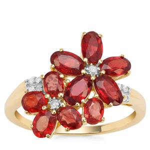 Winza Ruby Ring with Diamond in 9K Gold 2.65cts