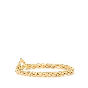 "7.5"" 9K Gold Altro Textured Spiga Bracelet 6.80g"