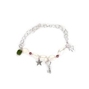 Kaori Cultured Pearl, Garnet & Chrome Diopside Rhodium Flash Sterling Silver Bracelet
