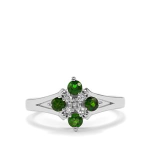 Chrome Diopside & White Topaz Sterling Silver Ring ATGW 0.58cts