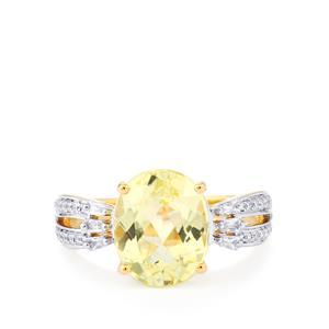Canary Kunzite & Diamond 14K Gold Ring ATGW 4.79cts