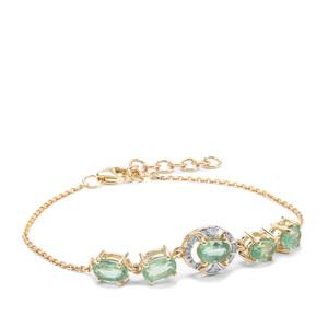 Odisha Kyanite & Diamond 9K Gold Bracelet ATGW 3.07cts