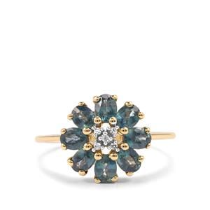 Nigerian Blue Sapphire & White Zircon 9K Gold Ring ATGW 1.82cts