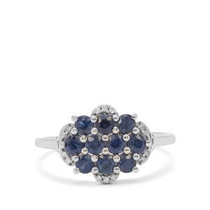Australian Blue Sapphire & Diamond 9K White Gold Ring ATGW 1.10cts