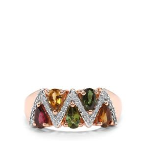 Rainbow Tourmaline Ring with White Zircon in 14K Rose Gold 1.29cts