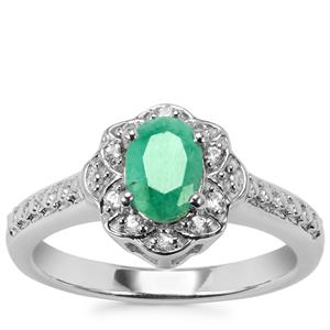 Carnaiba Brazilian Emerald Ring with White Topaz in Sterling Silver 0.84cts
