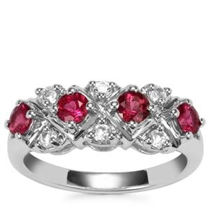 Cruzeiro Rubellite Ring with White Topaz in Sterling Silver 0.94cts