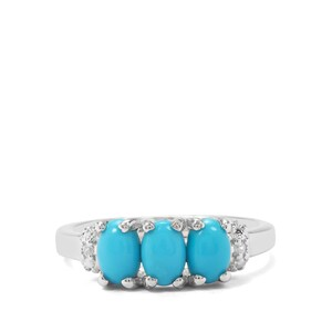 Sleeping Beauty Turquoise & White Zircon Sterling Silver Ring ATGW 1.23cts