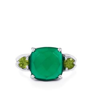 Verde Onyx & Hunan Peridot Sterling Silver Ring ATGW 6.92cts
