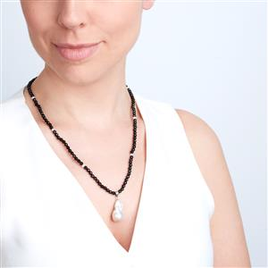 Baroque Freshwater Cultured Pearl Necklace with Black Agate in Sterling Silver (20x13)