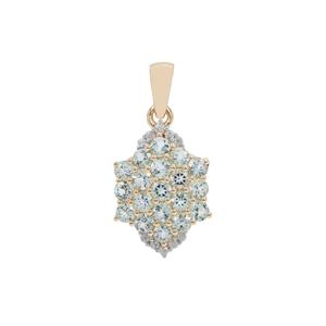 Aquaiba™ Beryl & White Zircon 9K Gold Pendant ATGW 1.20cts