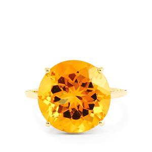 Diamantina Citrine Ring in 10k Gold 8.62cts