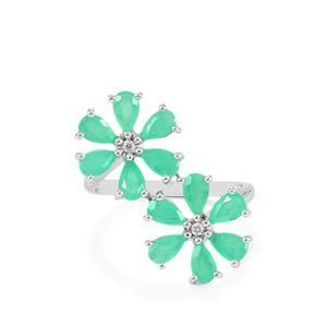Carnaiba Brazilian Emerald & Ratanakiri Zircon Sterling Silver Ring ATGW 2.51cts