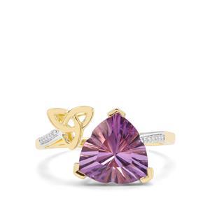 Lehrer Infinity Cut Zambian Amethyst & Diamond 9K Gold Ring ATGW 3.11cts