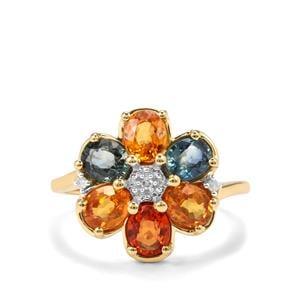 2.88cts Rainbow Sapphire & Diamond 9K Gold Ring