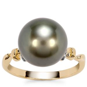 Tahitian Cultured Pearl Ring with Diamond in 9K Gold (11mm)