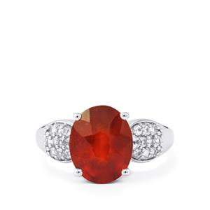 Hessonite Garnet Ring with White Zircon in Platinum Plated Sterling Silver 4.54cts