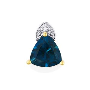 Marambaia London Blue Topaz Pendant with Diamond in 9K Gold 2.93cts
