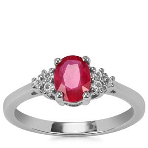Burmese Ruby Ring with White Topaz in Sterling Silver 1.17cts (F)