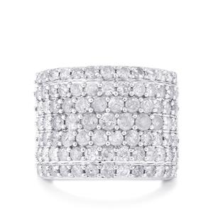 4ct Diamond Sterling Silver Ring