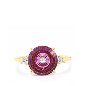 Lehrer TorusRing Ametista Amethyst Ring with Diamond in 10K Gold 2.53cts