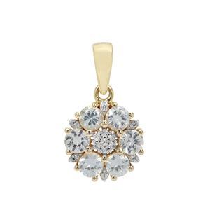 Ceylon White Sapphire Pendant 9K Gold 1.29cts