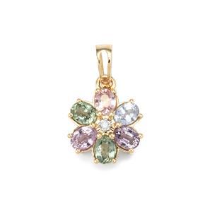 Natural Sakaraha Rainbow Sapphire & Diamond 10K Gold Pendant ATGW 1.44cts