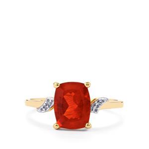 Tarocco Red Andesine & Diamond 10K Gold Ring ATGW 1.67cts