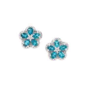 Madagascan Blue Apatite Earrings with White Zircon in Sterling Silver 1.87cts