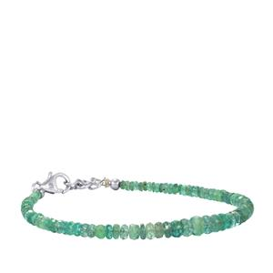 17.50ct Zambian Emerald Sterling Silver Graduated Bead Bracelet