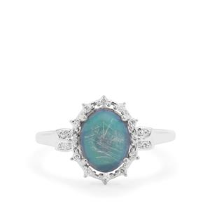 Blue Moonstone Ring with White Zircon in Sterling Silver 2.30cts