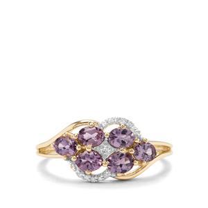 Mahenge Purple Spinel & Diamond 9K Gold Ring ATGW 1.16cts