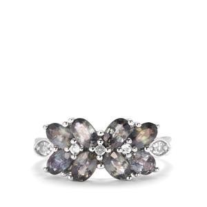 Tunduru Colour Change Sapphire & White Topaz Sterling Silver Ring ATGW 2.73cts