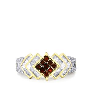 Red Diamond Ring with White Diamond in 10K Gold 1ct