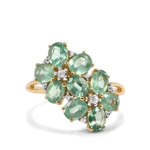 Odisha Kyanite & White Zircon 9K Gold Ring ATGW 4.06cts
