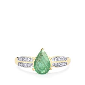 Zambian Emerald Ring with White Zircon in 10k Gold 1cts