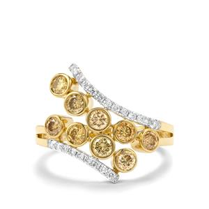 Natural Coloured Diamond Ring with White Diamond in 18K Gold 1ct