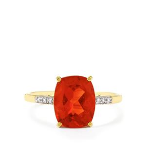 Tarocco Red Andesine Ring with Diamond in 10K Gold 2.31cts