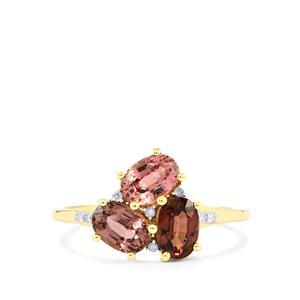 Natural Sakaraha Rainbow Sapphir Ring with Diamond in 9K Gold 1.90cts