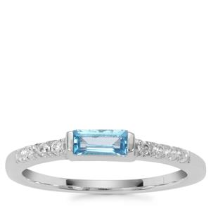 Swiss Blue Topaz Ring with White Zircon in Sterling Silver 0.42ct