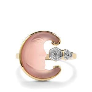 Lehrer Man in the Moon Pink Chalcedony Ring with Diamond in 10k Gold 3.55cts